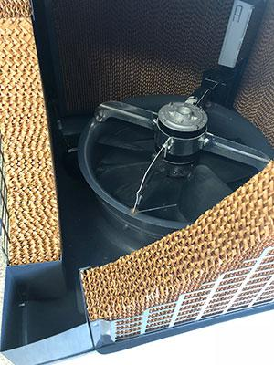 Inside the Smallaire Domestic Evaporative Airconditioner